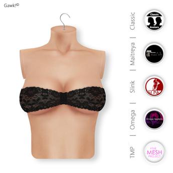 Gawk! Black Lace Bandeau Top | BoM & Appliers for Maitreya, Slink Physique, TMP & Omega System