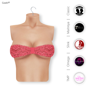 Gawk! Red Lace Bandeau Top   BoM & Appliers for Maitreya, Slink Physique, TMP & Omega System