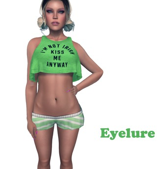 Eyelure Loose Tank and MiniShorts  Anyway Green Stripe  OUTFIT