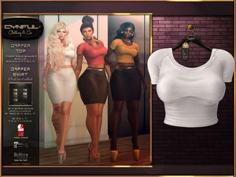 [Cynful] Dapper Top - White [Maitreya Lara, Belleza (Isis, Freya + Venus), Slink (Physique + Hourglass)]