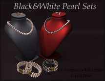 *AvaWay* Black&White Pearl Set Jewelry
