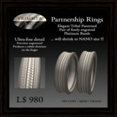 Tribal Platinum Partnership Rings (will shrink to Nano size)