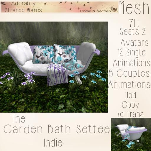 ~ASW~ The Garden Bath Settee ~Indie
