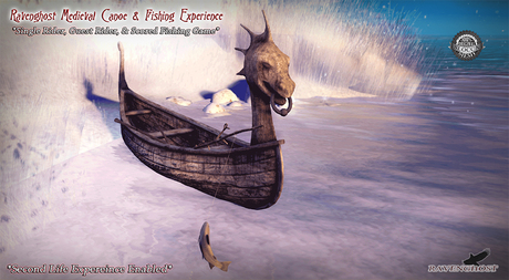 Medieval Canoe & Fishing Experience *GENUINELY FUN TO PILOT! ANIMATES 3 ROWERS & SCORED FISHING*