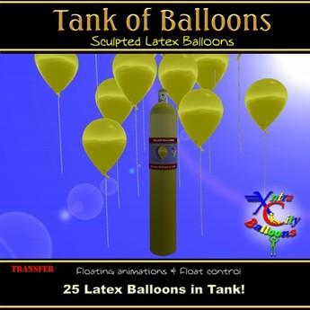 25 Yellow Balloons in Helium Tank - Xntra City Balloons