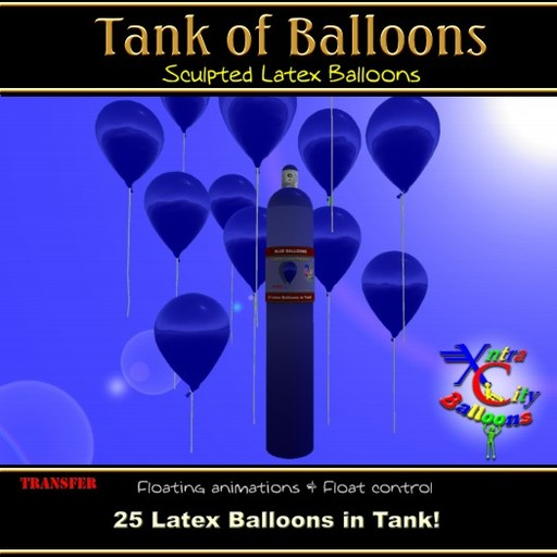 25 Blue Balloons in Helium Tank - Xntra City Balloons