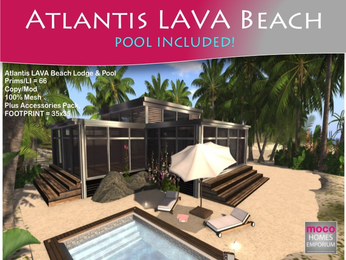 NEW! MOCO Emporium ~ Atlantis LAVA Mesh Beach Cottage & POOL Li = 67 or 80 House plus pool v1