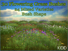 30 KIDD Flowering Meadow Bushes * Bush Shape * 24 Mixed Textures * TransMod