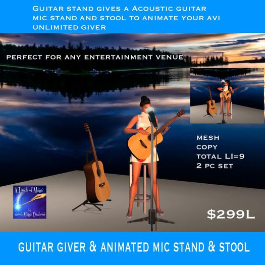 Accoustic Guitar stand giver & Mic Stand with stool (crate)