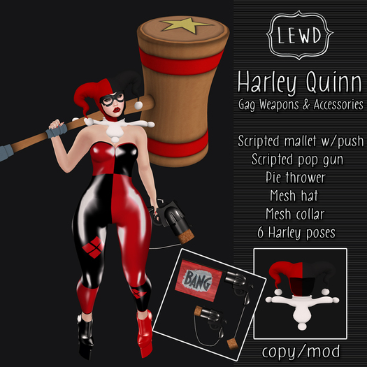 : Lewd : Harley Quinn gag weapons & accessories , costume