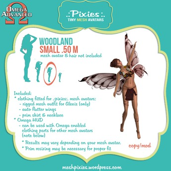 .:pixies:. Alexis small .50 Woodland fairy outfit wings OMEGA