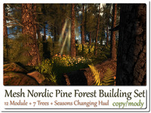 Mesh Nordic Pine Forest Hud Changing Set 12 Parts+7 Trees