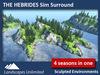 Sim Surround Landscape HEBRIDES (Full Sim Surround, off-sim islands, cliffs, fir & pine trees, rocks, seasons)