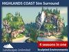 Sim Surround Landscape HIGHLANDS COAST (Full sim surround, off-sim waterfalls, mountains, rocks, fir, pine, palm trees)