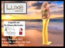 LUXE Paris MALI Top, Long Skirt & Slink Sandals