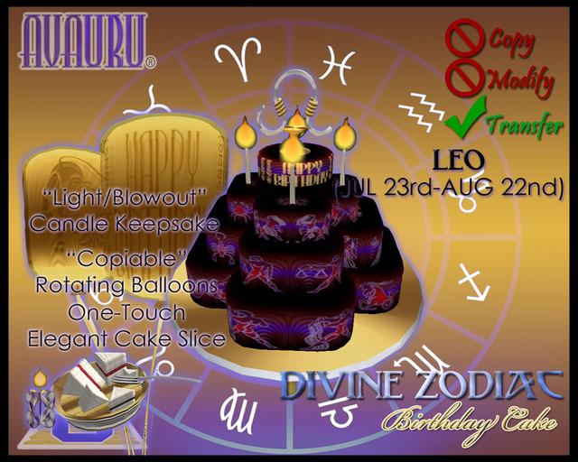 Divine Zodiac Birthday Cake - Leo in Midnight