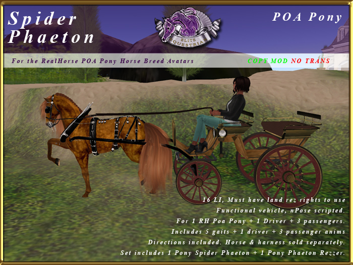 *E* Spider Phaeton 1-Horse [RH POA Pony] BOXED