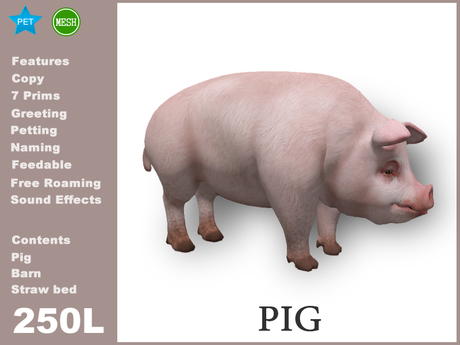 [TomatoPark] Pig Mesh ( roaming, animate, feedable, copy)
