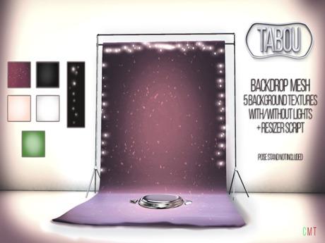 TABOU. Backdrop /w light