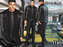 Bella Moda: Pelle Tailleur Black Leather Suit with Matching Shoes. Standard & Fitted Mesh Sizes - FULL