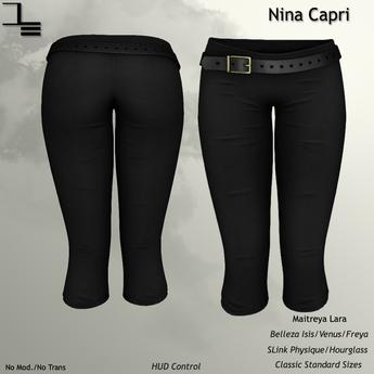 DE Designs - Nina Capris - Black