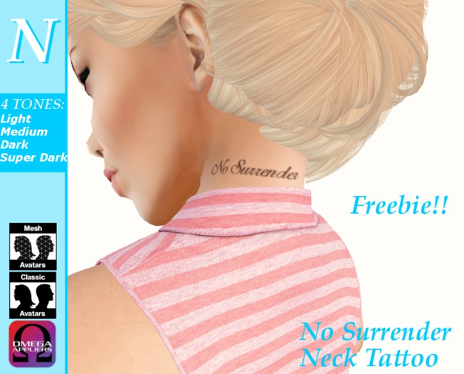 -Natti- No Surrender Neck Tattoo (Omega) Unisex FREE