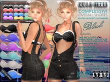 Bella Moda: Complessivi Black Denim Overall Shorts & Pois Bikini Top with 12 Colors in HUD - FULL