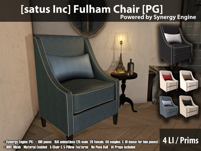 [satus Inc] Fulham Chair [PG] {Synergy Engine} ~ 150 Animations 100 Poses