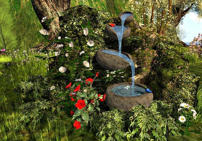 CJ Mossy Fountain ~ c + m  ~ Light Menu in bowl on ground