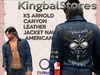 KS ARNOLD CANYON LEATHER JACKET NAVY AMERICAN
