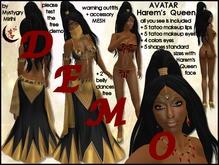 DEMO free AVATAR Harem's Queen ebony skin,mesh rigged hair,mesh sexy outfit unwrap gif,mesh jewellery,veil flexi,mesh