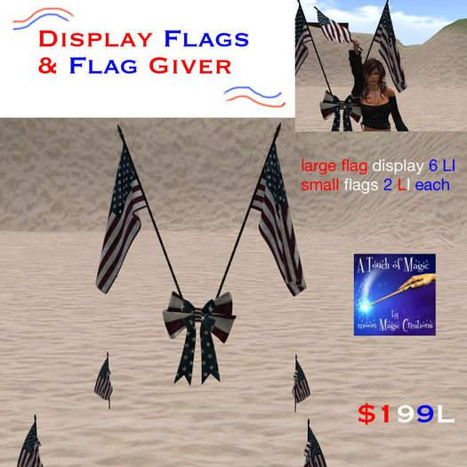 USA Flags display and flag giver (crate)