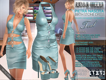 Bella Moda: Pietra Nascita Teal Birth Stone Dress Outfit - Fitted Mesh for Maitreya/Slink/Classic+Std Sizes - FULL