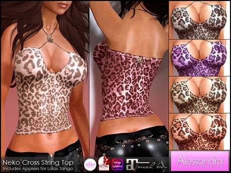 ALESSANDRA - Sheer Neko Cross String Top (6 Colors)