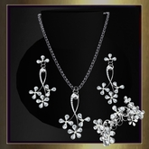 Flowers of Love, 4 Piece Gem Set in Silver with Diamonds