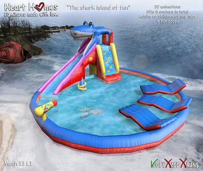 <Heart Homes>Family Swimming pool -Shark Island of Fun - Floater for Kids