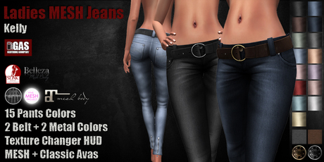 GAS [Ladies MESH Jeans Kelly - 15x2x2 Colors with HUD]