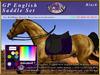*E* Rigged GP English Saddle Set  [BOXED] RHQH Black
