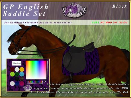 *E* Rigged GP English Saddle Set  [BOXED] RHCB Black