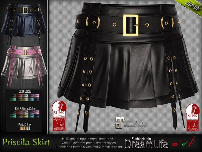 Priscila Mini Skirt* Rigged Mesh (HUD Driven)  *DreamLife - FashionNatic*