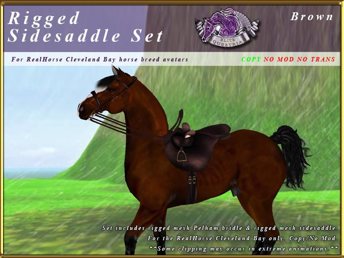 *E* Rigged Sidesaddle Set [BOXED] RHCB Brown