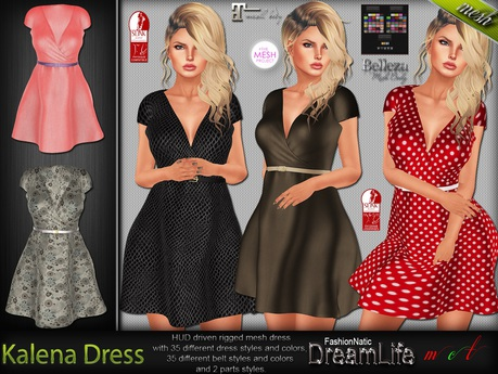 Kalena Dress - Maitreya Lara, Slink Physique Hourglass, Belleza Isis Freya Venus, TMP - DreamLife - FashionNatic