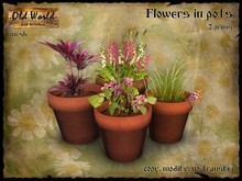 Flowers in pots v2  - Old World - Home Decorations