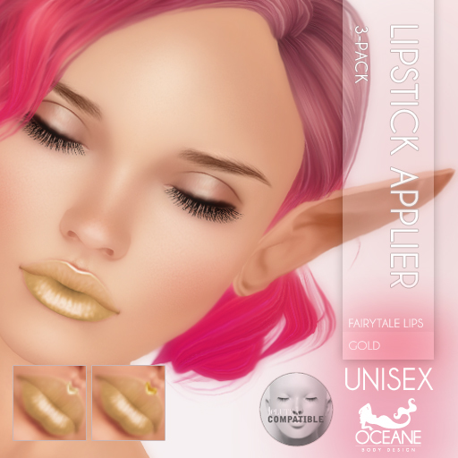 Oceane - Fairytale Lipstick Applier 3-pack Gold [Lelutka]