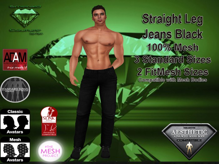 EC Mens Black Jeans Straight Leg