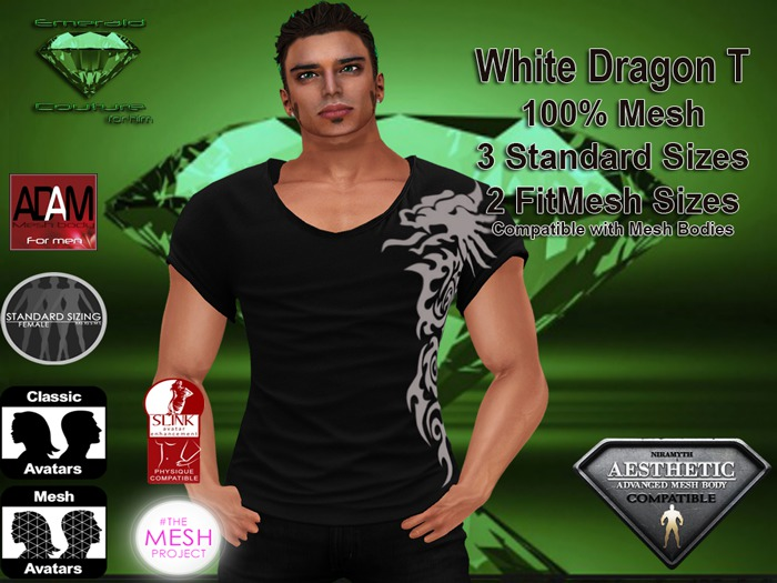 EC Mens White Dragon T