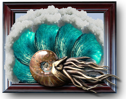 Nautilus in Waves - color cycling - ONLY AT LIN'S ART GALLERY