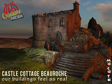 Castle Cottage BeauRoche CopyModify Medieval Castle House with basement and 2 floors placed in a rocky scenery