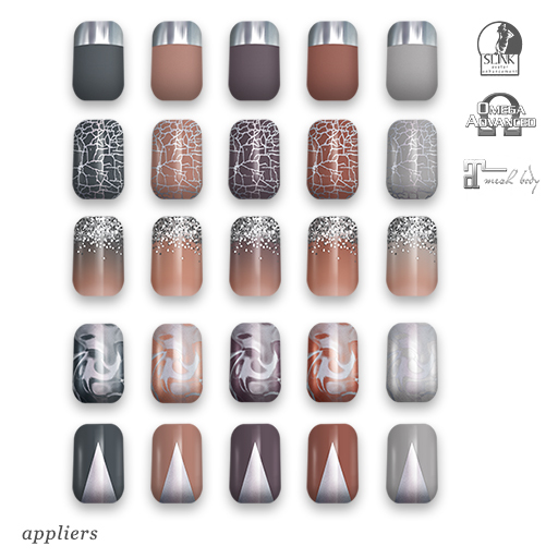 "alaskametro<3 ""Neutrals/Silver"" Slink/Omega/Maitreya/Eve nail polish applier"