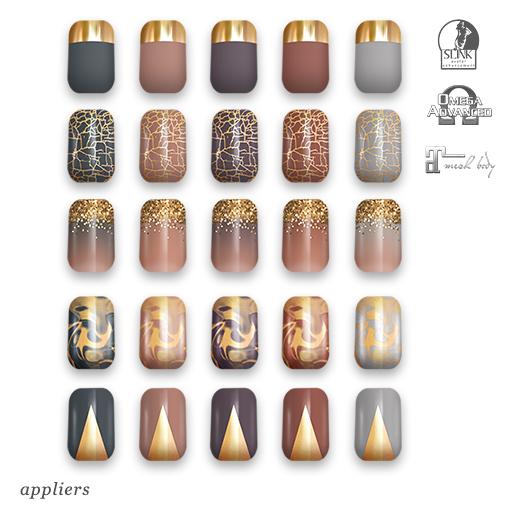 "alaskametro<3 ""Neutrals/Gold"" Slink/Omega/Maitreya/Eve nail polish applier"